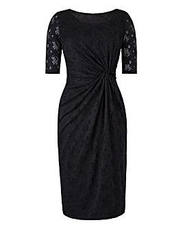 Black Lace Twist Knot Front Dress