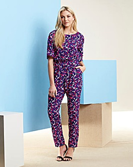 Multi Print Short Sleeve Jumpsuit