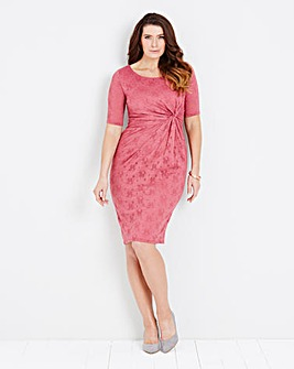 Dusky Pink Lace Twist Knot Front Dress
