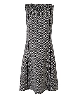 Black/White Print Linen-Mix Dress