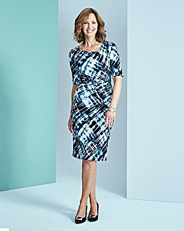 Geo Print Side Tuck Dress