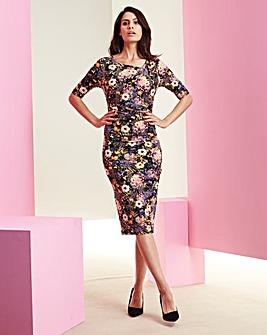 Floral Print Side Tuck Dress