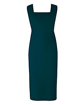Teal Ponte Square-Neck Shift Dress