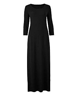 Plain Black Jersey Maxi Dress - L50in