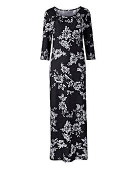 Mono Floral Jersey Maxi Dress - L50in