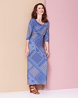 Blue Tile Jersey Maxi Dress - L50in