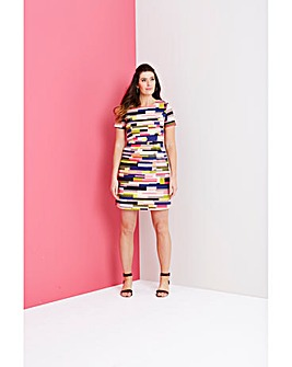 Multi Stripe Cotton Satin Dress