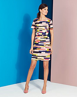 Multi Stripe Cotton Satin Dress