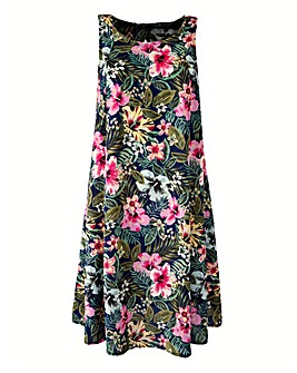 Sleeveless Swing Dress - Green Print