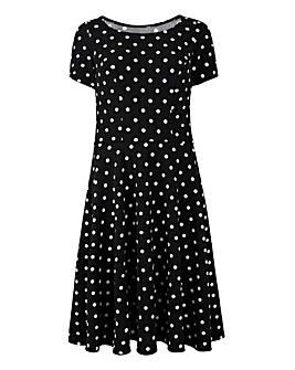 Spot Print Textured Jersey Skater Dress