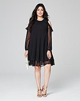 Black Frill Cold Shoulder Dress