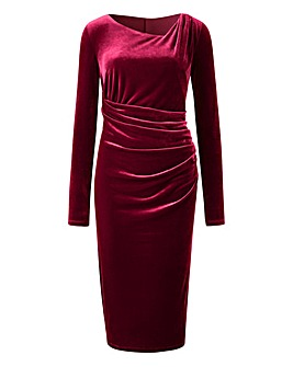 Velour Side Tuck Dress