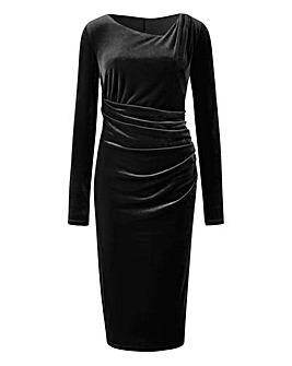 Velour Side Tuck Dress