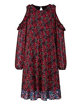 Floral Print Frill Cold Shoulder Dress