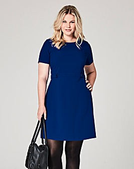 Bright Blue Crepe Shift Dress