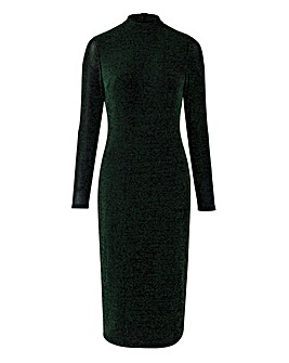Green/Black Glitter Jersey Midi Dress