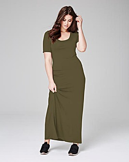Khaki Jersey Maxi T-shirt Dress