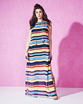 Stripe Side-Split Maxi Dress