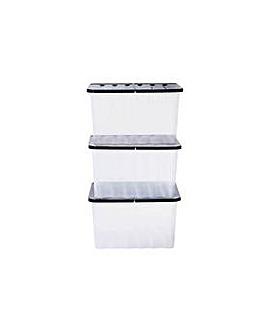 Supa Nova 3 x 28 L Lidded Storage Box.
