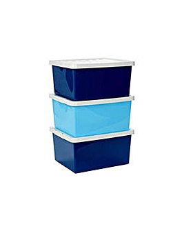 Set of 3 27L Storage Boxes with Lid Blue