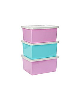 Set of 3 27L Storage Boxes with Lid Pink