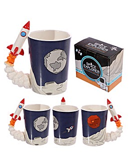 Shaped Handle Novelty Mug - Space Rocket