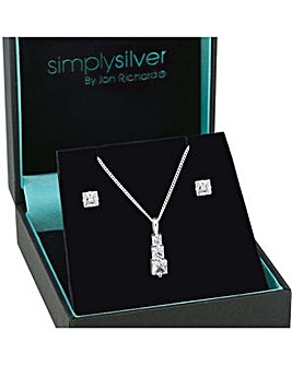 Simply Silver Graduated necklace set