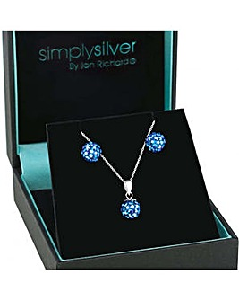 Simply Silver Pave ball necklace set