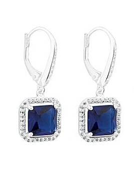 Simply Silver Blue halo drop earring
