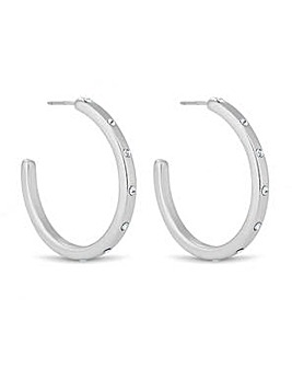 Jon Richard silver crystal hoop earring