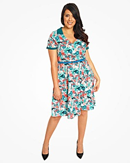 Lindy Bop Isabel Leopard Floral Dress