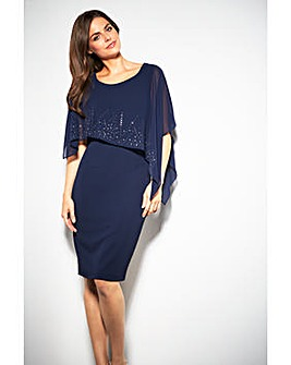 Gina Bacconi Gabriella Beaded Cape Dress