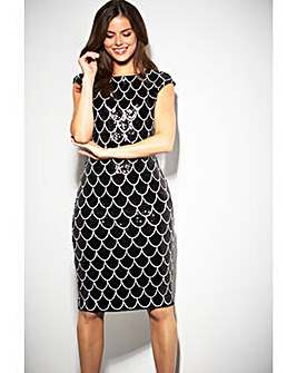 Gina Bacconi Ariel Scallop Design Dress
