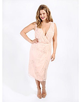 Lovedrobe Luxe Pink Wrap Midi Dress