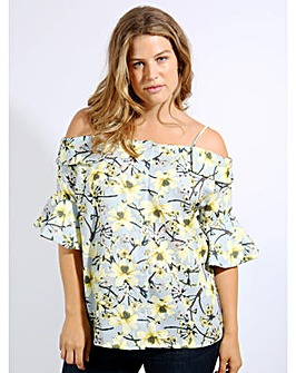 Koko Floral Cold Shoulder Button Up Top