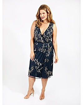 Lovedrobe Luxe Navy Sequin Wrap Dress