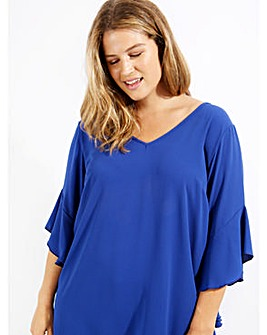 Lovedrobe GB Frill Sleeve Crepe Blouse