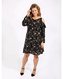 Lovedrobe GB Floral Cold Shoulder Dress