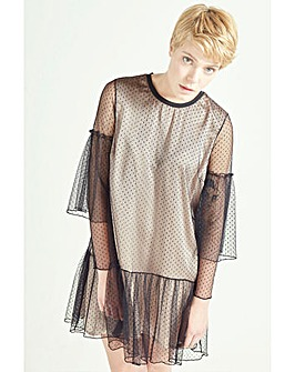 Elvi Black & Nude Polka Dot Mesh Dress