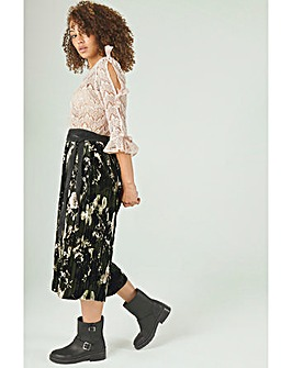 Elvi Velvet Floral Pleated Midi Skirt