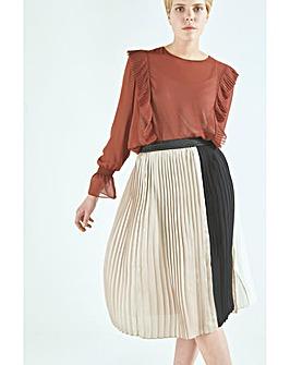Elvi Colour Block Pleated Midi Skirt