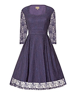 Lindy Bop Lisette Lavender Lace Dress