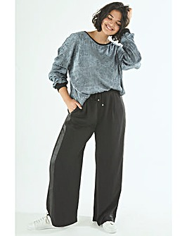 Elvi Black Side Stripe Wide Leg Trousers