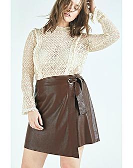 Elvi Brown PU Wrap Mini Skirt