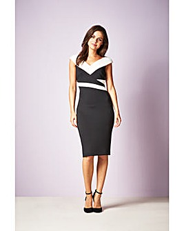 Gina Bacconi Janet Contrast Panel Dress