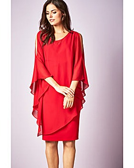 Gina Bacconi Chloe Asymmetric Cape Dress