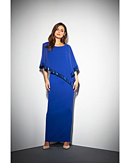 Gina Bacconi Tiffany Cape Maxi Dress
