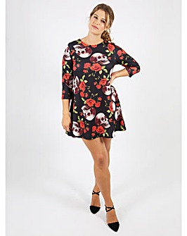 Koko Full Colour Skull Print Swing Dress