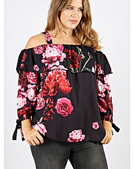 Koko Red Floral Bardot Top