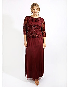 Lovedrobe Luxe Sequin Wine Dress